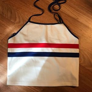 Blue and red striped halter top